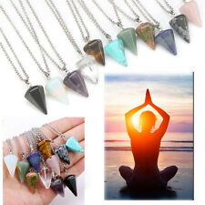 Gemstone Pendant Necklace Natural Quartz Crystal Point Chakra Healing Stone Chic