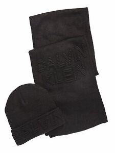 CALVIN KLEIN Mens Black Fitted Cuffed Logo Accent Winter Beanie Hat Cap