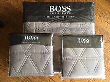 HUGO BOSS QUEEN COVERLET & 2 STD SHAMS- TRIBECA STONE GRAY- COTTON All Brand NEW