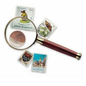 Handle Magnifier with glass lens, gold-plated metal rim, 3xmagnification, Ø 50 m