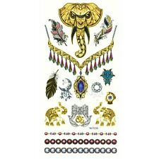Temporäre Tattoos Elefant Mehndi Indisch Mandala Design Temporary Klebetattoo