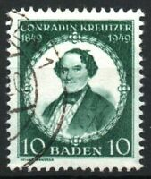 BADEN FRENCH OCCUPATION Mi. #53 used stamp! CV $18.00