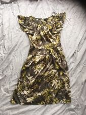 Gorgeous Shiny Green Floral Print Dress Next 6 Uk Vgc Party Occasion