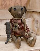 Primitive ROBERT E BEAR DOLL Country Fabric Rag Civil War Folk Art Patriotic