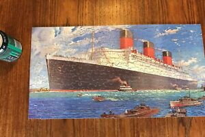 ANTIQUE WOODEN JIGSAW PUZZLE CUNARD RMS QUEEN MARY - COMPLETE