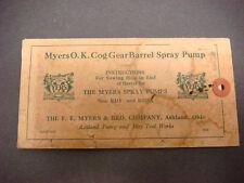 1953 Myers O.K. PIGNONE INGRANAGGIO Barile Pompa Spray istruzioni/serie di fori, #318 S8621