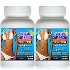 2 GARCINIA CAMBOGIA EXTRACT EXTREME PURE 100% HCA DIET  FAT WEIGHT LOSS PLUS