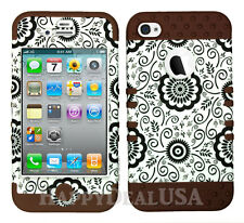 KoolKase Hybrid Impact Silicone Cover Case for Apple iPhone 4 4S - Flower 56