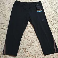 Asics Womens Size Medium Yoga Pants Crop Capri Athletic Black Brown Pocket