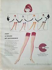 1957 Burlington Bur-Mil Camafeo Mujer Medias hasta el Muslo las Original Anuncio