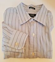 J. Crew Men's Dress Shirt Size L Blue Striped Long Sleeve Button Down 16 1/2