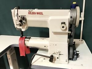 GOLDEN WHEEL WALKING FOOT CYLINDER ARM COMPOUND FEED INDUSTRIAL SEWING MACHINE