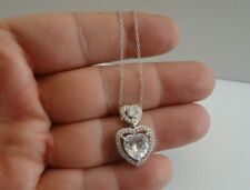 STACKED HEART NECKLACE PENDANT W/ LAB DIAMOND /16'' TO 18''/ 925 STERLING SILVER