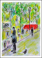 Artistes et pigeon/Place du Tertre,Paris  modern art oil painting
