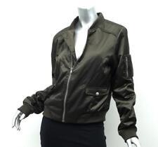 PAIGE Womens BLIX Olive Army Green Nylon Long-Sleeve Bomber Jacket Coat L NEW