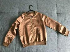 New Listingwoman bomber jacket camel/old gold color silk fabric spring/summer