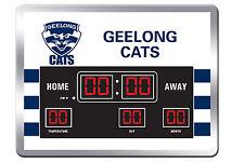 Geelong Cats AFL Glass SCOREBOARD LED Clock Date Time Temp Man Cave Bar Gift