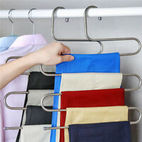 S Clothes Pants Trouser Hanger Multi Steel Stainless Saver Space Closet Rack