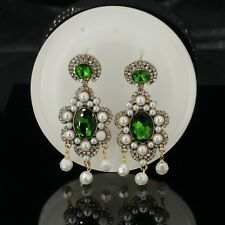 Costume Fashion Earrings CLIP ON Pearl Gold Vintage Chandelier Green Emerald X9