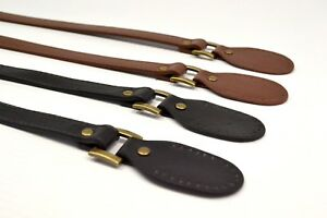 Bag Handle - PAIR Hinged Faux Leather Sew On - Black Brown Craft 56cm 22inch UK