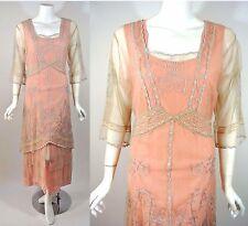 Vintage Style Dresse S NATAYA Pink Beige Lace Formal Victorian Gatsby Bridal NWT
