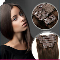 100% Remy Hair Clip in Human Hair Extensions 7 pcs #2 Brown Straight Hair New