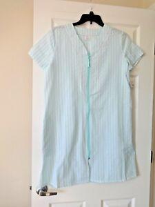 Croft and Barrow Women's seersucker zip-up duster robe size small blue