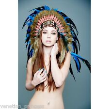 Royal Blue Feather Native American Indian Headdress Coachella SH011 USA SELLER