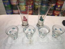 6 Retro Aqua Green Red Federal Atomic Amoeba Boomerang cocktail pilsner glasses