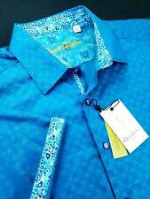 Robert Graham Tonal Turquoise Egyptian Cotton Short Sleeve Shirt XL