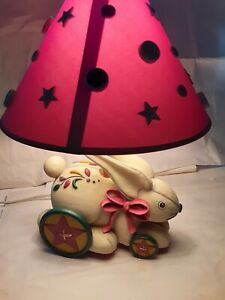 2001 Kathy Killip Circus Bunny Rabbit on Wheels Resin Kids Nursery Table Lamp