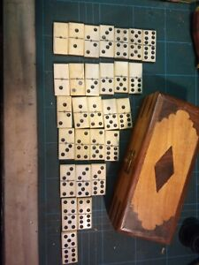 Vintage Dominoes Double Six Set Of 28 In Later Wooden Box
