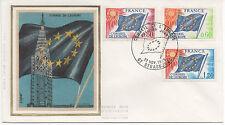 FRANCE 1975.F.D.C.SOIE. CONSEIL DE L'EUROPE.OBLITERATION:LE 22/11/75 STRASBOURG