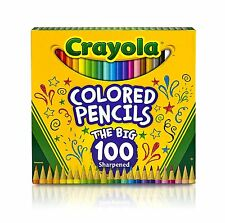 Crayola Colored Pencils, 100 Count, Vibrant Colors, Pre-sharpened, Art Tools,
