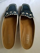 "Franco Sarto Suede Slip-on Blue & White, Heel 1.5"" high, SIZE 81/2"