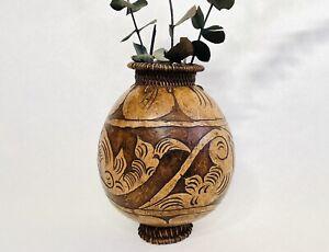 VTG COCONUT SHELL PLANTER VASE ~ Hand Carved Pedestal Flower Succulent