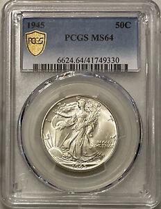 1945-P Walking Liberty Half Dollar - PCGS MS64 - 90% Silver