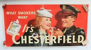 RARE VINTAGE CHESTERFIELD CIGARETTES ARMY POSTER SIGN LIGGETT & MYERS TOBACCO CO
