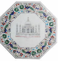 """18"""" White Marble Coffee Table Top Tajmahal Mosaic Inlay Marquetry Art Home Decor"""