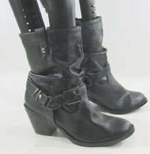 "Black 2.5"" Low Heel Round Toe Side Buckle Ankle Sexy Boot Size 5"