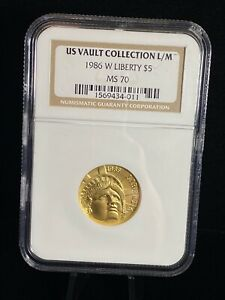 NGC US Vault Collection L/M 1986 W Liberty $5 Five Dollars Gold MS 70 Coin