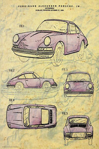 PORSCHE - PATENT DIAGRAM POSTER 24x36 - CLASSIC SPORTS CAR 36701