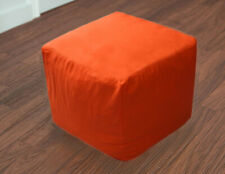 """Indian Vintage Handmade 16"""" Plain Cotton Ottoman Pouf Cover Footstool Covers"""