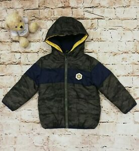 Little Boys Very Green Camouflage Padded Coat With Hood Age 12-18 Months