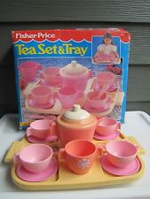 1985 Vintage  Fisher Price Fun with Food Tea Set and Tray Pink Purple IOB
