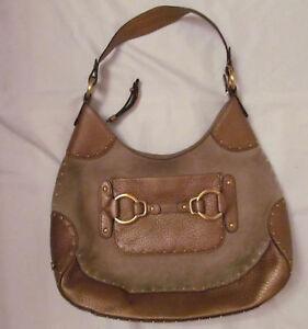 COLE HAAN STEPHANIE SUEDE bronze studded leather horsebit hobo equastrian bag