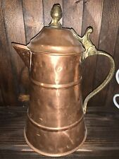 Vintage Copper And Brass Hammered Pitcher - 8""