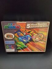 PJ Masks 5 Wood Puzzles In Wooden Storage Box Educational Jigsaw Puzzle Set NEW