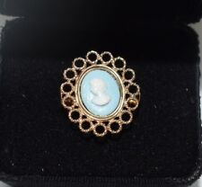 ring 14 kt solid yellow gold Rossana Andreozzi filigree style blue lady cameo