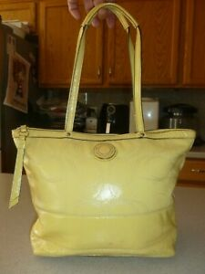 Coach  F19198 Yellow Handbag Pink Patent Leather Signature Shoulder Bag Tote